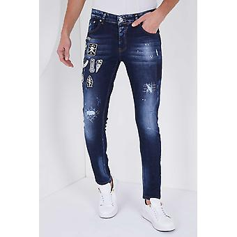 Jeans With Applications - Slim Fit - Blue