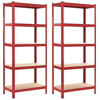 Storage racks 2 pcs. red 80 x 40 x 180 cm steel and MDF