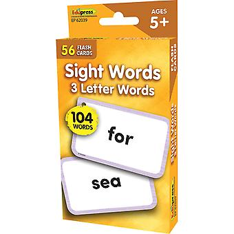 Sight Words - 3 Letter Words Flash Cards