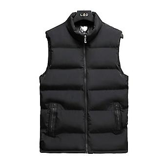 Mens Jacket Sleeveless, Vest, Winter Fashion Male Cotton-padded Coats, Stand