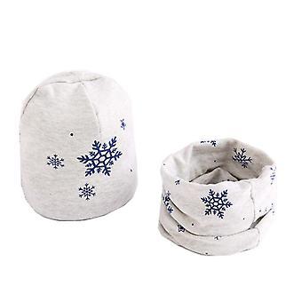 Plush Hat Scarf Set, Print Cotton
