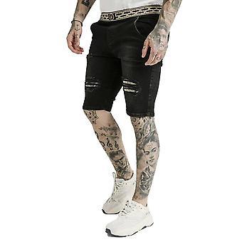 SikSilk Elasticated Waist Distressed Denim Shorts - Black
