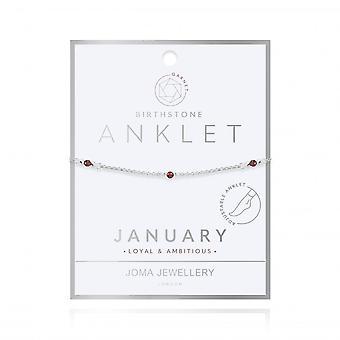 Joma Jewellery Birthstone January Garnet Silver 26cm Adjustable Anklet 4200