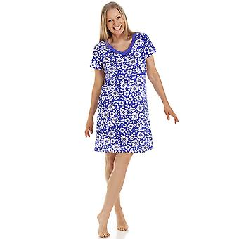 Camille Womens Navy Blue Floral Cotton Nightdress