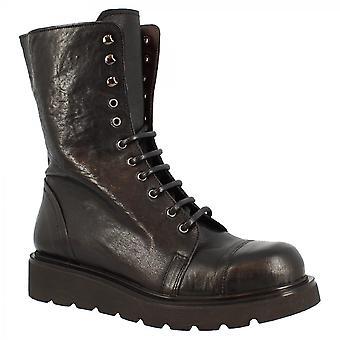 Leonardo Shoes Women's coins faits main midcalf dentelle-ups bottes en cuir de veau noir avec fermeture éclair latérale