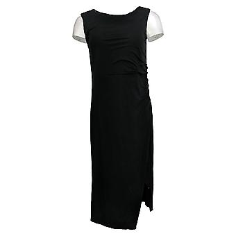 Lisa Rinna Collection Dress Sleeveless Side Ruched Midi Black A308775