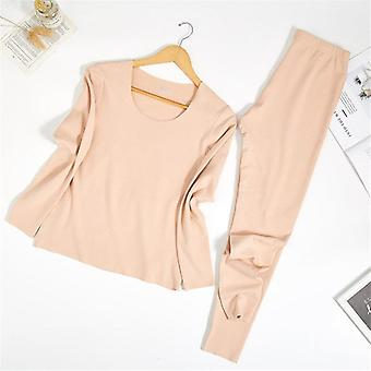 Thermal Underwear Suit Double Layers   Female Pajamas Set Warm Long Johns