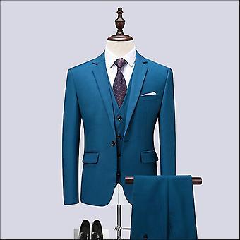 Menn's Nyeste Frakk Bukse Design Casual Business Suit 3 Stykker Sett