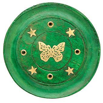 Dekorative sommerfugl træ grøn røgelse brænder aske catcher