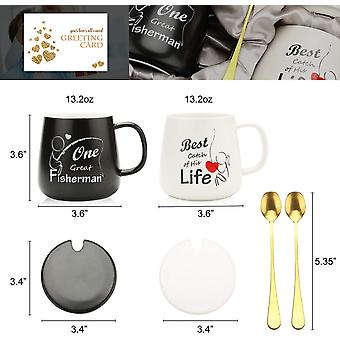 One Great Fisherman, Best Catch of His Life Coffee Couple Mugs Gift Set - Unique Engagement Wedding