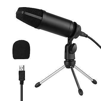 Micrófono condensador usb configurado con manguito de viento de espuma de cable de alimentación de trípode de micrófono plegable