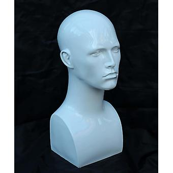 Gerui White Glossy Professional Male Mannequin Head for Display Headset, Headphone, Game Console,