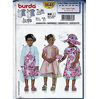 Burda sy mønster 9648 childs kjole bolero jakke vesken lue størrelser 3-8