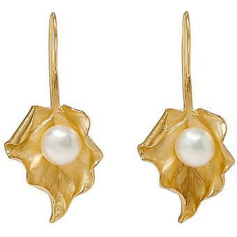 Pearls of the Orient Vita Freshwater Pearl Leaf Drop Earrings - Gold