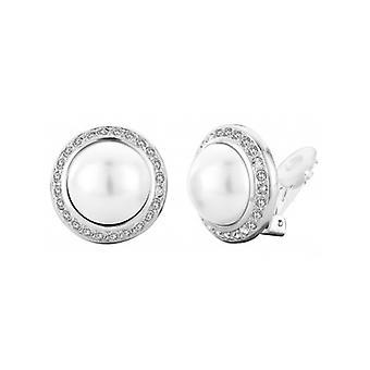 Pendiente clip de viajero - Perla blanca de 16 mm - Rodio Chapado - 113260 - 710