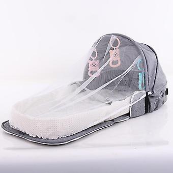 Cama de bebê para recém-nascido, portátil, proteção solar de viagem, rede de mosquitos, dobrável,