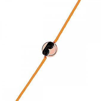 Smiley pink vermeil cord bracelet and orange cord 'apos;Cool'apos;