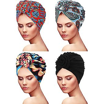 HanFei 4 stucke Frauen Turban Afrikanischen Muster Knoten Kopftuch Schlaf Vorgebundene Motorhaube