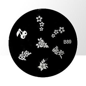 Frimærkeplade - Negledekorationer - B89 - Rund