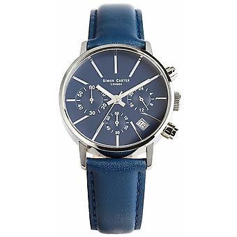 Relógio Cronógrafo Simon Carter - Azul/Prata