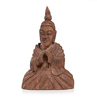 Hölzerne sitzende Buddha-Skulptur
