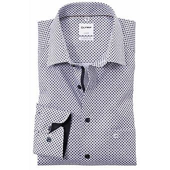 OLYMP Olymp Mens Big Size Comfort Fit Luxor Cotton Micro Pattern Formal Long Sleeve Shirt White