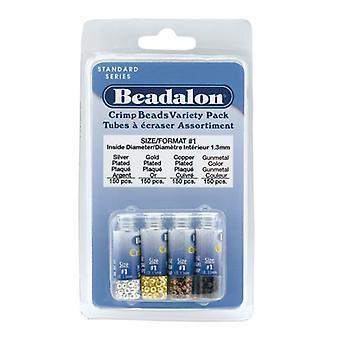 Beadalon Crimp Pärlor, 4 färg olika sortpaket 1.3mm, 600 stycken