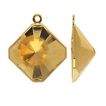 Swarovski Crystal Fancy Stone Vedhæng Indstilling, Passer #4499 Kalejdoskop Square 14mm, Forgyldt