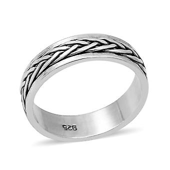 TJC Silver Braid Embossed Band Ring for Unisex Sterling Stamped Jewellery