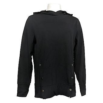 Enhver Kvinders franske Terry Sweatshirt m / Side Snaps Sort A367681