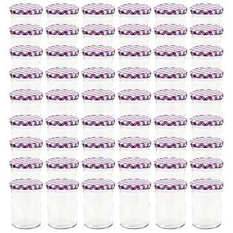 vidaXL Jam jars with white/purple lid 48 pcs. 400 ml