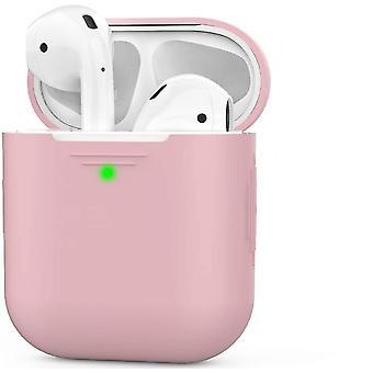 Ροζ θήκη σιλικόνης airpods συμβατή με αερόποδα μήλου 2 & 1 dt6578