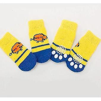 Cute Pet Strik Sokker Slip-on Paw Protector 4stk - Kat / små hunde Bomuld Anti