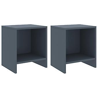 vidaXL ベッドサイドテーブル 2個入りライトグレー 35x30x40 cm 松無垢材