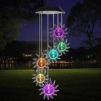 Sinos solares de led, bolha colorida coluna solar wind chime lâmpada, memorial wind bell para jardim