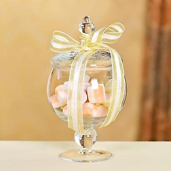 European Style Transparent Glass Candy Jar With Glass Cover Wedding Dessert Display Stand Home
