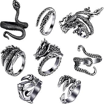 8pcs Retro Animal Rings Set Black Snake, Long Octopus, Dragon Head, Short Octopus, Wolf Claw, Dragon Hand, Dragon Body For Party