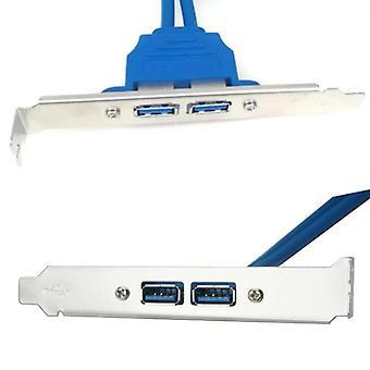 תושבת הרחבה של לוח אחורי USB 3.0 עם שני יציאות לראש USB של לוח אם עם 20 פינים