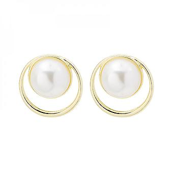 Silver Needle Simple Hollow Large Pearl Personality Commuter Fashionable All-match Elegant Earrings
