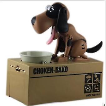 Söt valp hund Piggy Bank Spara pengar Låda Spara pengar Pott myntlåda kan elektronisk Piggy Bank Barn Julklappar (bruna och svarta)