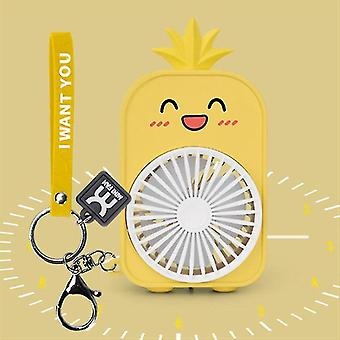 Pineapple Backpack Keychain Pocket Fan Outdoors Fan Key Chains For Kids Great Gift(Light Yellow)