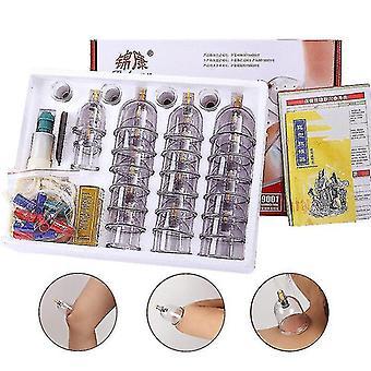 32Pcs Tassen chinesische medizinische Gesundheitsfürsorge Körper Akupunktpunkt Vakuum Schröpfen Set Home Saugpumpe Schröpfen