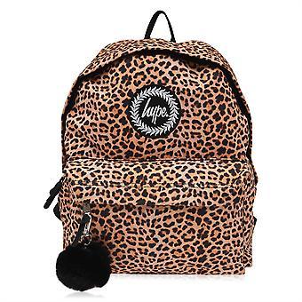 Hype Naisten Leopard Print Pom Reppu Pehmustetut Olkahihnat Back Pack Säkki
