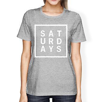 غراي هيذر الأكمام قصيرة أعلى المحملة القميص السبت امرأة مضحك