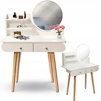 Puinen pukeutumispöytä valkoinen peilillä ja laatikoilla - 122x80x40 cm