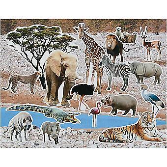 LAST FEW - 12 Design Your Own Wild Safari Animal Craft Sticker Scenes for Children