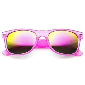 عدسة مرآة ريلفيكتيفي لون الإطار متجمد النيون القرن النظارات الشمسية ريمد