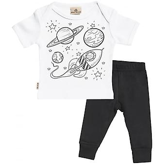 Spoilt Rotten Rocket Print Baby T-Shirt & Baby Jersey Trousers Outfit Set