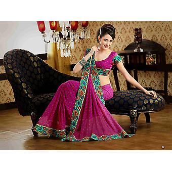 Chakori Deep Pink Faux Crepe Luxury Party Wear Sari saree