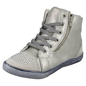 Girls Cutie Hi-Top Trainer Boots with Diamante Toe Cap H4104